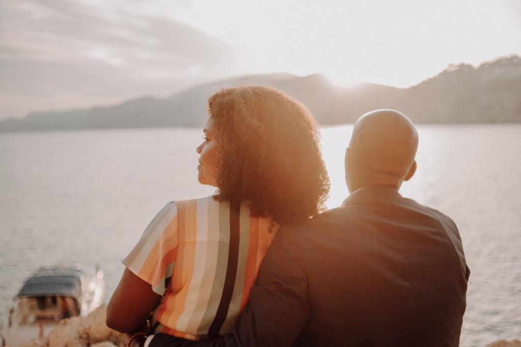 Coupleshoot at cliff Costa Brava Spain